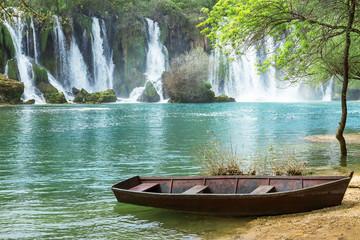 Amazing view at beautiful Kravice waterfalls