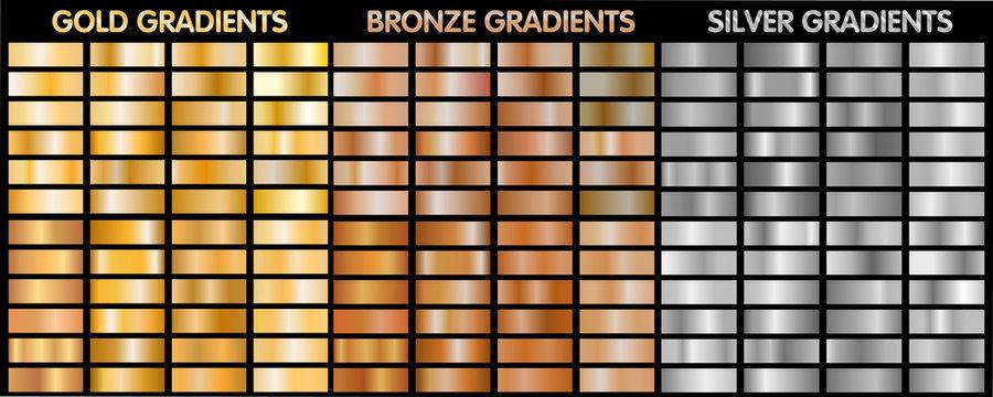 Gold, silver, bronze metalic gradients