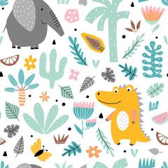 Fototapete - Kids background with elephant and crocodile