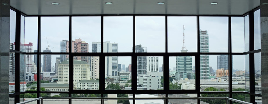 The interior of the building's view of the city from the office windows.