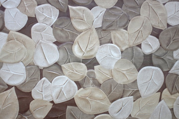 The Imprint of leaf texture on cement floor background Wall mural