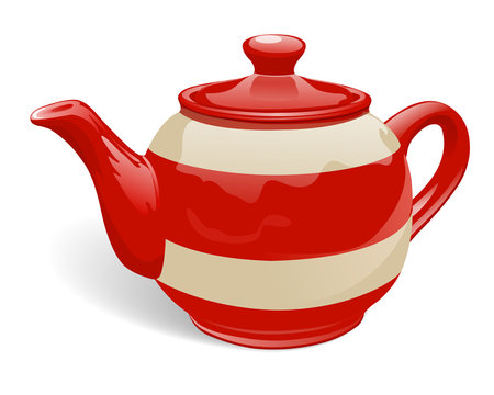 Realistic ceramic teapot. Red and beige with stripes. Isolated on white background. Vector illustration.