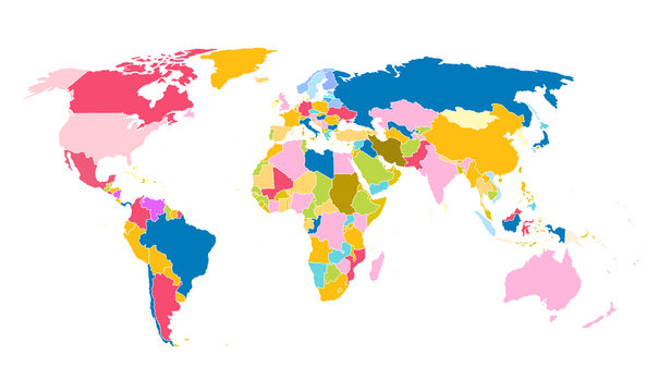 Cartoon pictures of world map on white background. All countries of the world in different colors. Can use for printing, website, presentation element, textile. Vector illustration.