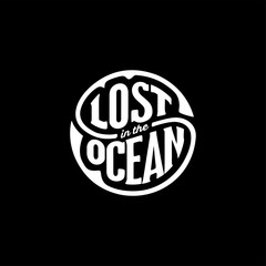 Lost in the Ocean circle black Vector illustration