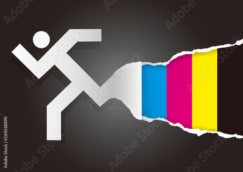 Fast printing torn paper concept  Illustration of running man icon