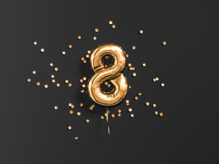 Eight year birthday. Number 8 flying foil balloon and gold confetti on black. Eight-year anniversary background. 3d rendering Wall mural