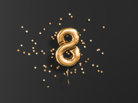 Eight year birthday. Number 8 flying foil balloon and gold confetti on black. Eight-year anniversary background. 3d rendering