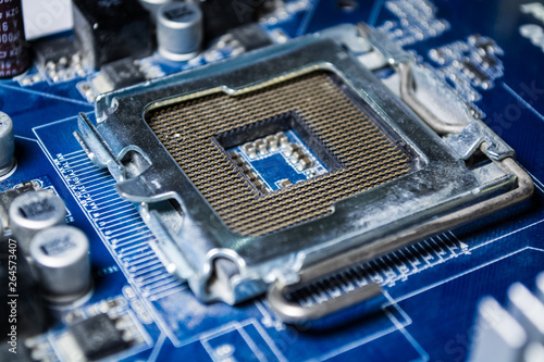 The old motherboard from the computer of blue color  Spare