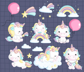 a vector collection of many unicorns in many pose