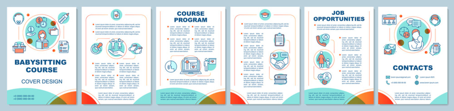 Babysitting course in bright colors brochure template layout