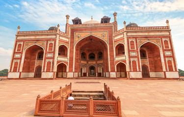 Wall Mural - Humayun Tomb red sandstone architecture with stairway at sunset. Humayun Tomb is a UNESCO World Heritage site at Delhi India