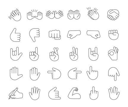 Hand gesture emojis linear icons set