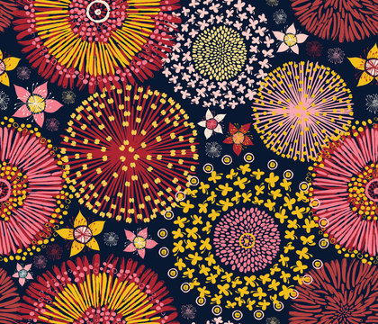 Australian flora, seamless pattern, colorful flowers background, vector illustration