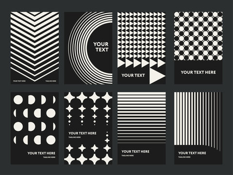 Geometric Abstract Shapes Modern Poster Template Set. Monochrome Pattern Design Concept. Stylish Minimal Background for Presentation. Retro Vintage Compositions for Brochures, Covers, Banners, Flyers.