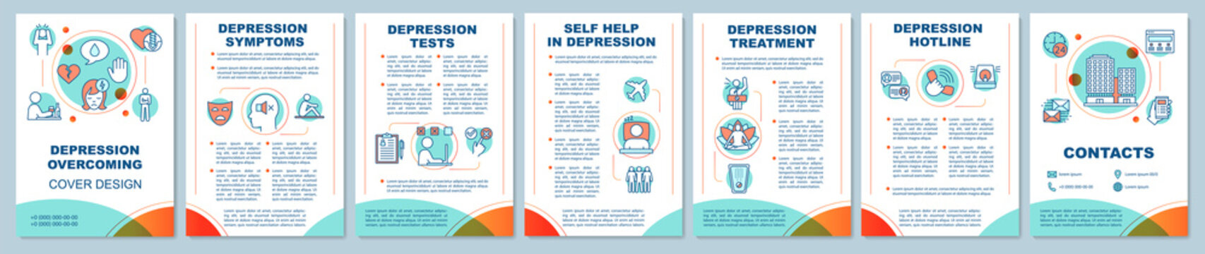 Depression overcoming brochure template layout