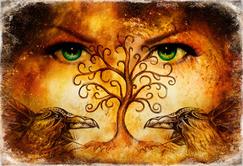 pair of ravens with tree of life symbol and green female goddess eyes on horizon.