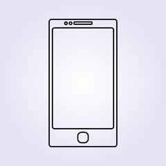 Black outline smartphone Icon Vector illustration background