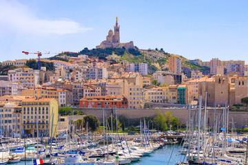 Old port of Marseille (Vieux Port) with view to Basilica Notre-Dame de la Garde - France