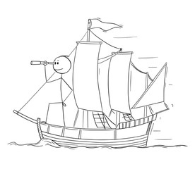 Cartoon stick figure drawing conceptual illustration of man or businessman standing as captain on the deck of sailing boat and looking through spyglass. Business concept of planning and future.