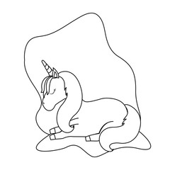 Fotobehang Cartoon draw cute unicorn animal isolated icon