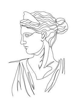 One line drawing sketch. Sculpture vector illustration.Modern single line art, aesthetic contour. Perfect for home decor such as posters, wall art, tote bag, t-shirt print, sticker, post card.