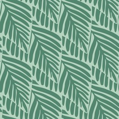 Spoed Fotobehang Tropische Bladeren Summer nature jungle seamless pattern. Exotic plant.
