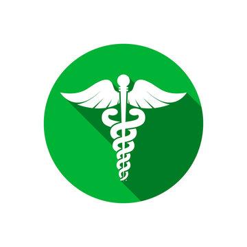 Caduceus medical symbol icon. Flat style vector. Caduceus snake health symbol