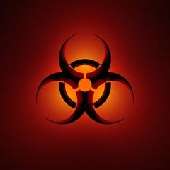 biohazard symbol, isoliert, freigestellt auf rotem hintergrund