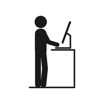 Man Working at Standing vector Desk. man working at the office on the computers