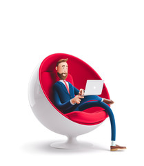 3d illustration. Handsome businessman Billy sitting in an egg chair with laptop.