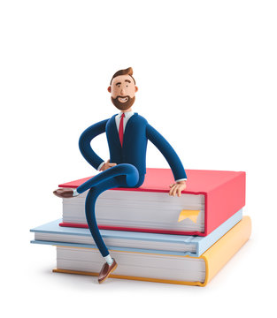Handsome beard businessman Billy is sitting on a stack of books. The concept of business education.