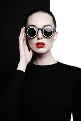 Printed kitchen splashbacks womenART beautiful young woman with black sunglasses