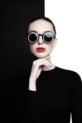 Door stickers womenART beautiful young woman with black sunglasses