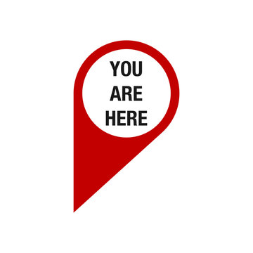 You are here. map pointer icon. GPS location symbol. red Flat design style.