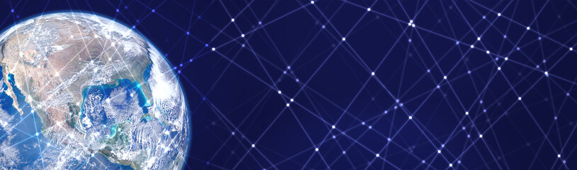 Line and dot pattern space background. Elements of this image furnished by NASA.