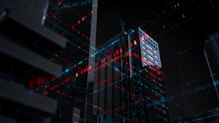 3d render technology background. Abstract skyscrapers with code around them. Wireframe structure and binary code around reflective buildings...