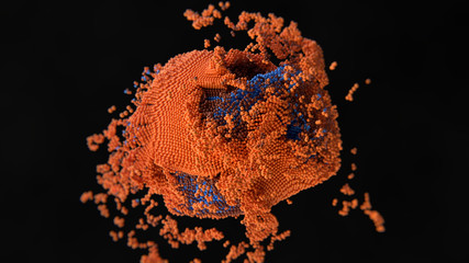 3d simulation of abstract cell infection and destruction of atom structure...