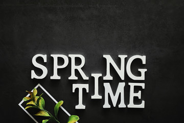Poster concept. On a dark background the inscription about springtime.