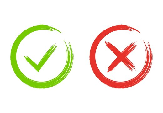 Grunge check marks. Green tick and red cross. YES or NO accept and decline symbol. Buttons for vote, election choice. Painted with brush. Check mark OK and X icons.