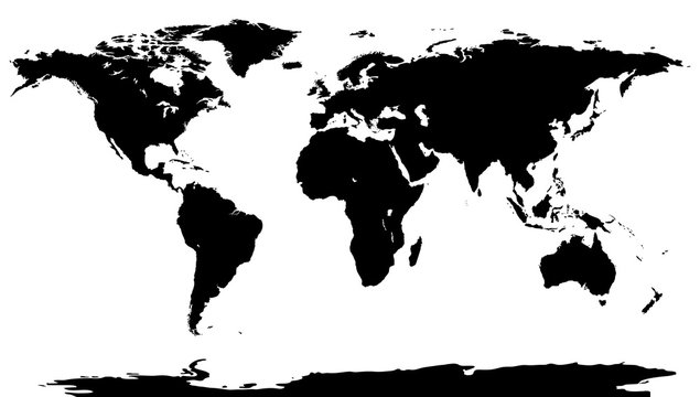 Black world map background. Worldmap stencil on white backdrop.