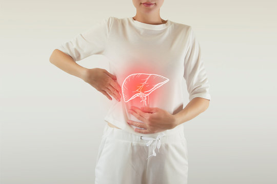 Digital composite of highlighted red painful liver of woman