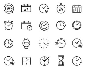 Time line icon set, schedule and data symbol