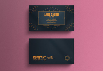 Business Card Layout with Geometric Decorative Accents