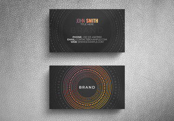 Business Card Layout with Circular Decorative Pattern
