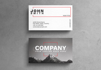 Minimalist Photograph Business Card Layout with Red Rectangle Accents