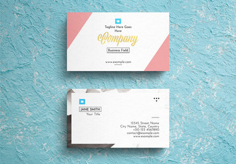 Geometric Pastel Business Card Layout with Photograph Background Accent