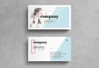 Geometric Pastel Business Card Layout with Photograph Accent