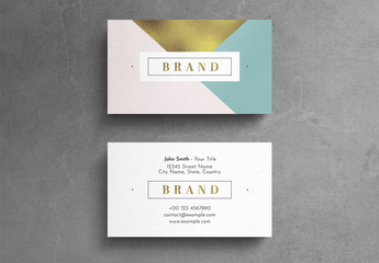 Geometric Pastel Business Card Layout with Gold Leaf Element