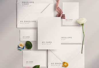 Wedding Suite Mockup with Flowers and Ribbons