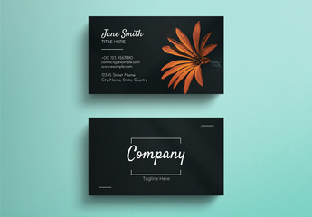 Simple Black Business Card Layout with Photograph Accent